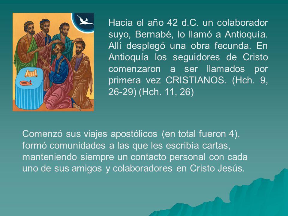 Hacia el año 42 d.C. un colaborador suyo, Bernabé, lo llamó a Antioquía. Allí desplegó una obra fecunda. En Antioquía los seguidores de Cristo comenza