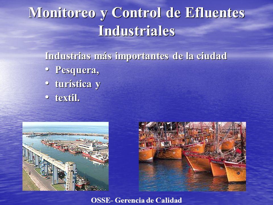 Monitoreo y Control de Efluentes Industriales Industrias más importantes de la ciudad Pesquera, Pesquera, turística y turística y textil. textil. OSSE