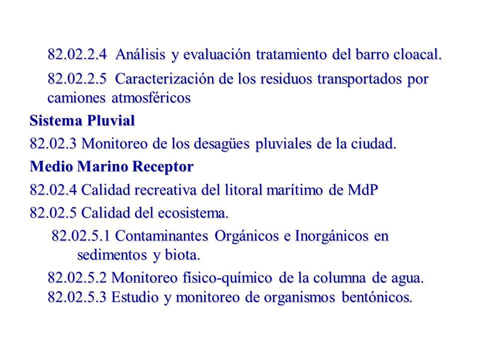 82.02.2.4 Análisis y evaluación tratamiento del barro cloacal. 82.02.2.5 Caracterización de los residuos transportados por camiones atmosféricos Siste