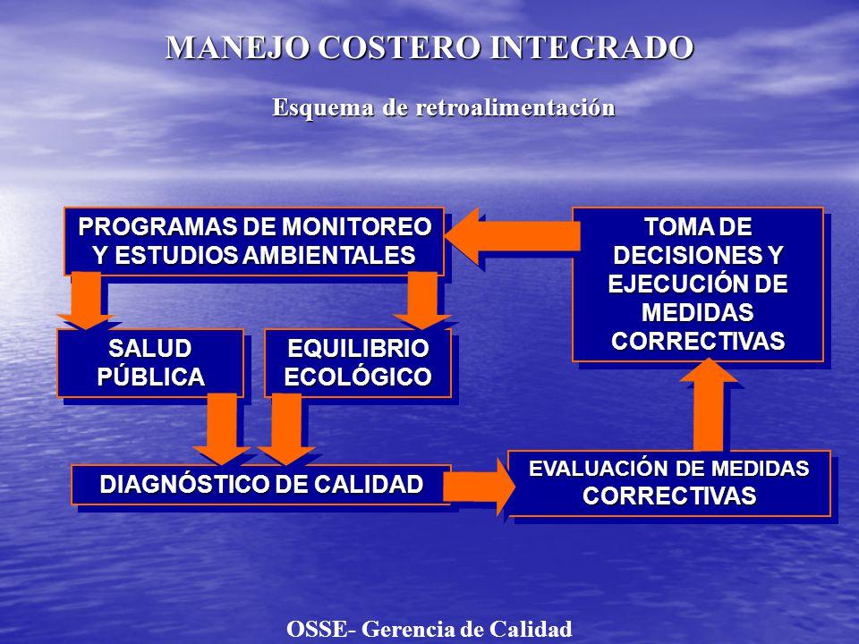 PROGRAMA DE MONITOREO: SALUD PÚBLICA Y EQUILIBRIO ECOLÓGICO CARACTERIZACIÓN DEL EFLUENTE CLOACAL LÍQUIDOLÍQUIDOSÓLIDOSÓLIDO * BARRO CRUDO * TEST DE LIXIVIACIÓN * BARRO CRUDO * TEST DE LIXIVIACIÓN EMISARIO SUBMARINO CALIDAD DEL ECOSISTEMA: CALIDAD DEL ECOSISTEMA: Proyectos de evaluación, vigilancia y línea de base en la zona de descarga CALIDAD RECREATIVA: Proyectos de evaluación, vigilancia y línea de base OSSE- Gerencia de Calidad