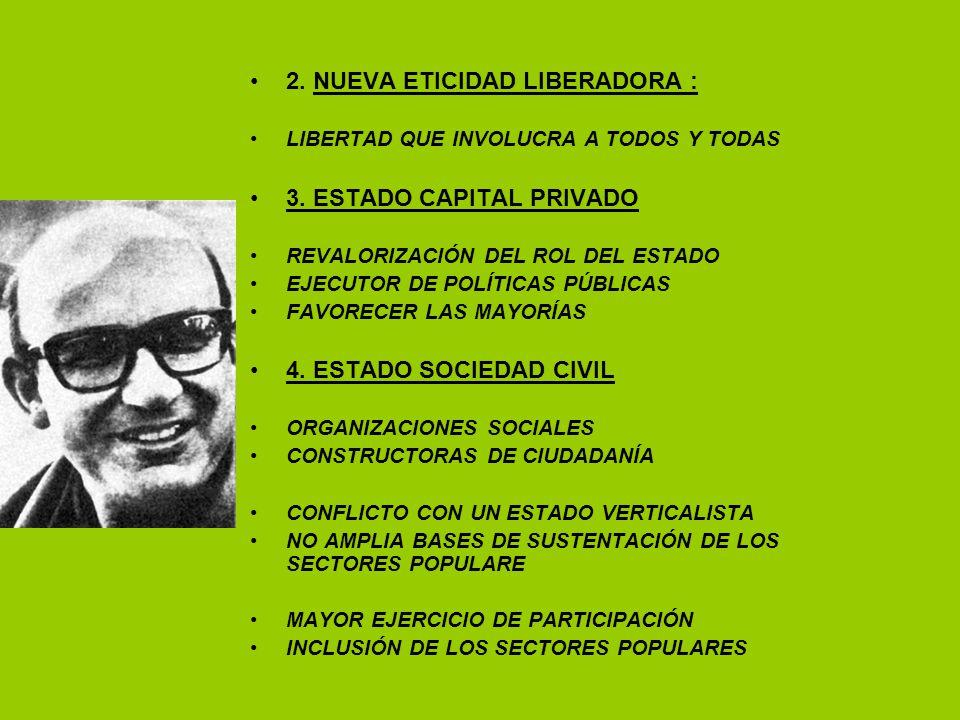 2. NUEVA ETICIDAD LIBERADORA : LIBERTAD QUE INVOLUCRA A TODOS Y TODAS 3. ESTADO CAPITAL PRIVADO REVALORIZACIÓN DEL ROL DEL ESTADO EJECUTOR DE POLÍTICA