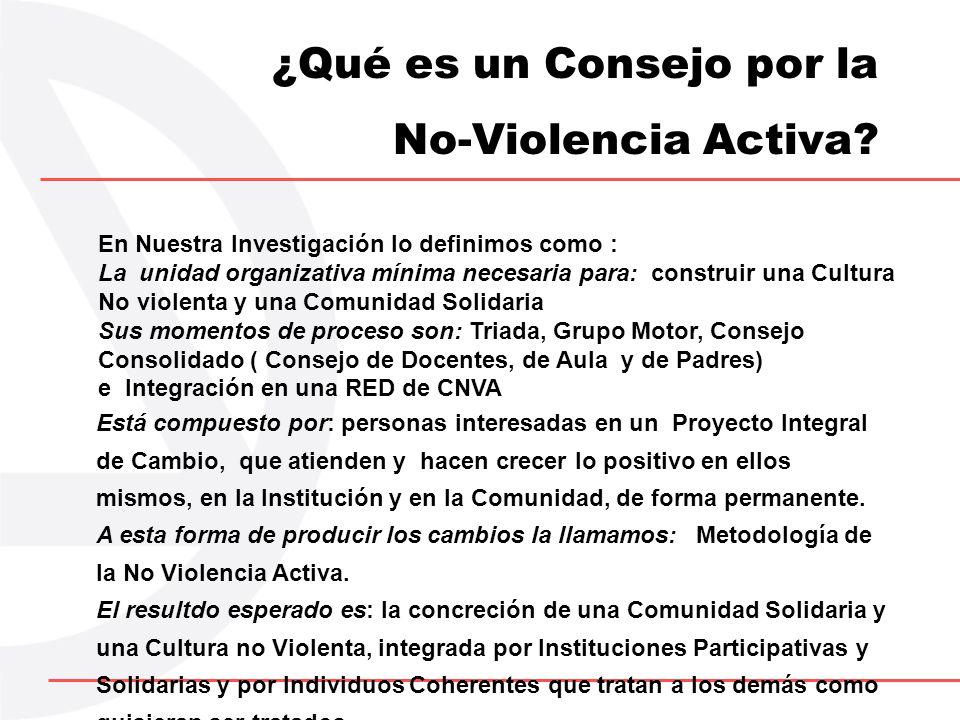¿Qué es un Consejo por la No-Violencia Activa? En Nuestra Investigación lo definimos como : La unidad organizativa mínima necesaria para: construir un