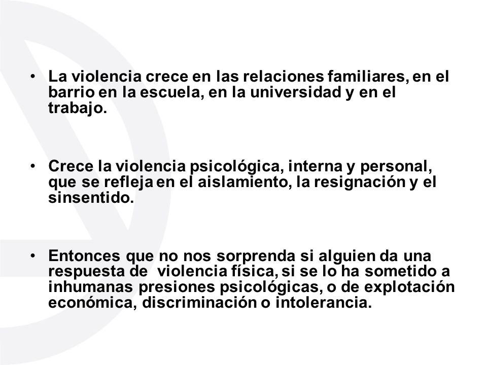 La violencia crece en las relaciones familiares, en el barrio en la escuela, en la universidad y en el trabajo. Crece la violencia psicológica, intern