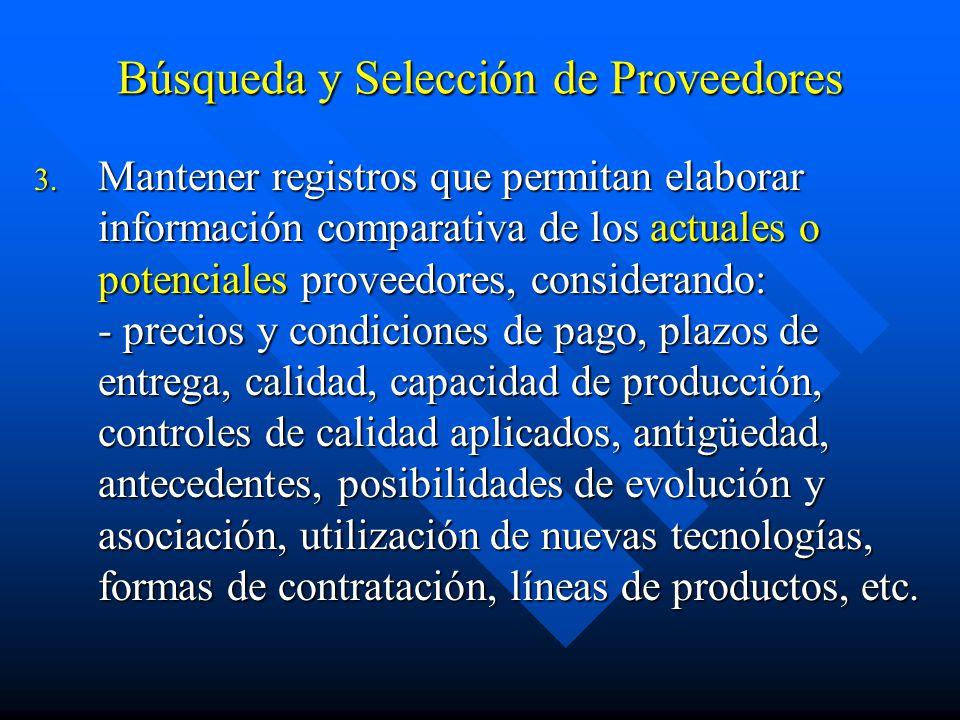 Búsqueda y Selección de Proveedores 3.
