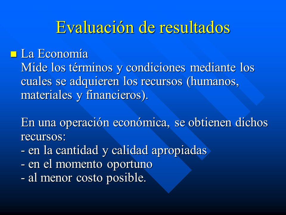 Evaluación de resultados La Economía Mide los términos y condiciones mediante los cuales se adquieren los recursos (humanos, materiales y financieros).