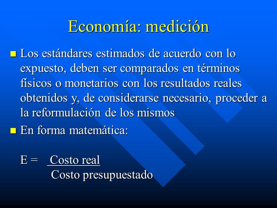 Economía: medición Los estándares estimados de acuerdo con lo expuesto, deben ser comparados en términos físicos o monetarios con los resultados reales obtenidos y, de considerarse necesario, proceder a la reformulación de los mismos Los estándares estimados de acuerdo con lo expuesto, deben ser comparados en términos físicos o monetarios con los resultados reales obtenidos y, de considerarse necesario, proceder a la reformulación de los mismos En forma matemática: E = Costo real Costo presupuestado En forma matemática: E = Costo real Costo presupuestado
