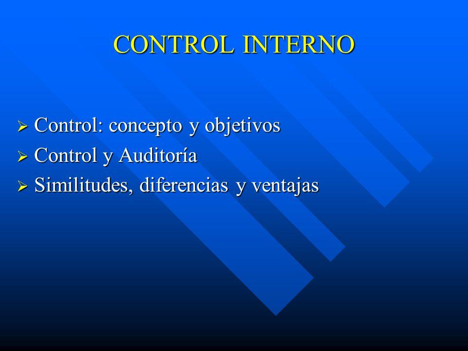 CONTROL INTERNO Control: concepto y objetivos Control: concepto y objetivos Control y Auditoría Control y Auditoría Similitudes, diferencias y ventajas Similitudes, diferencias y ventajas