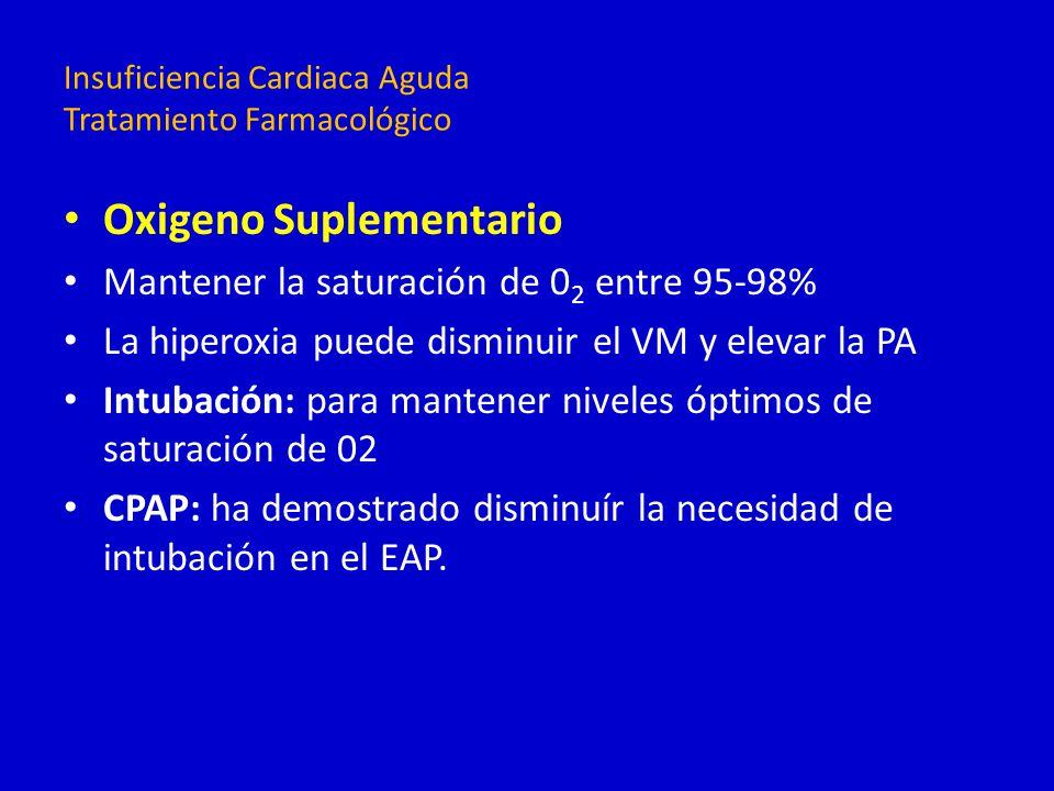 Oxigeno Suplementario Mantener la saturación de 0 2 entre 95-98% La hiperoxia puede disminuir el VM y elevar la PA Intubación: para mantener niveles ó