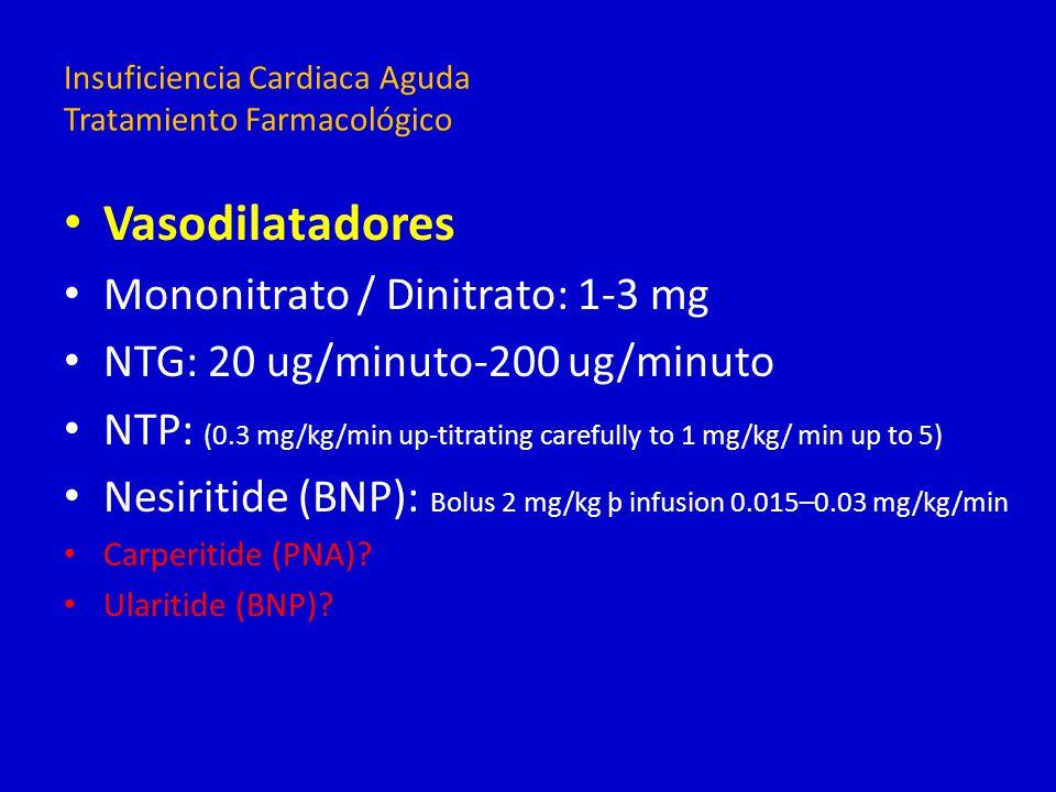 Vasodilatadores Mononitrato / Dinitrato: 1-3 mg NTG: 20 ug/minuto-200 ug/minuto NTP: (0.3 mg/kg/min up-titrating carefully to 1 mg/kg/ min up to 5) Ne