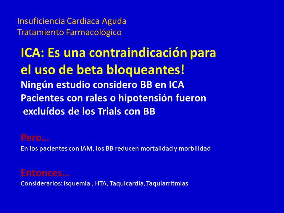 ICA: Es una contraindicación para el uso de beta bloqueantes! Ningún estudio considero BB en ICA Pacientes con rales o hipotensión fueron excluídos de