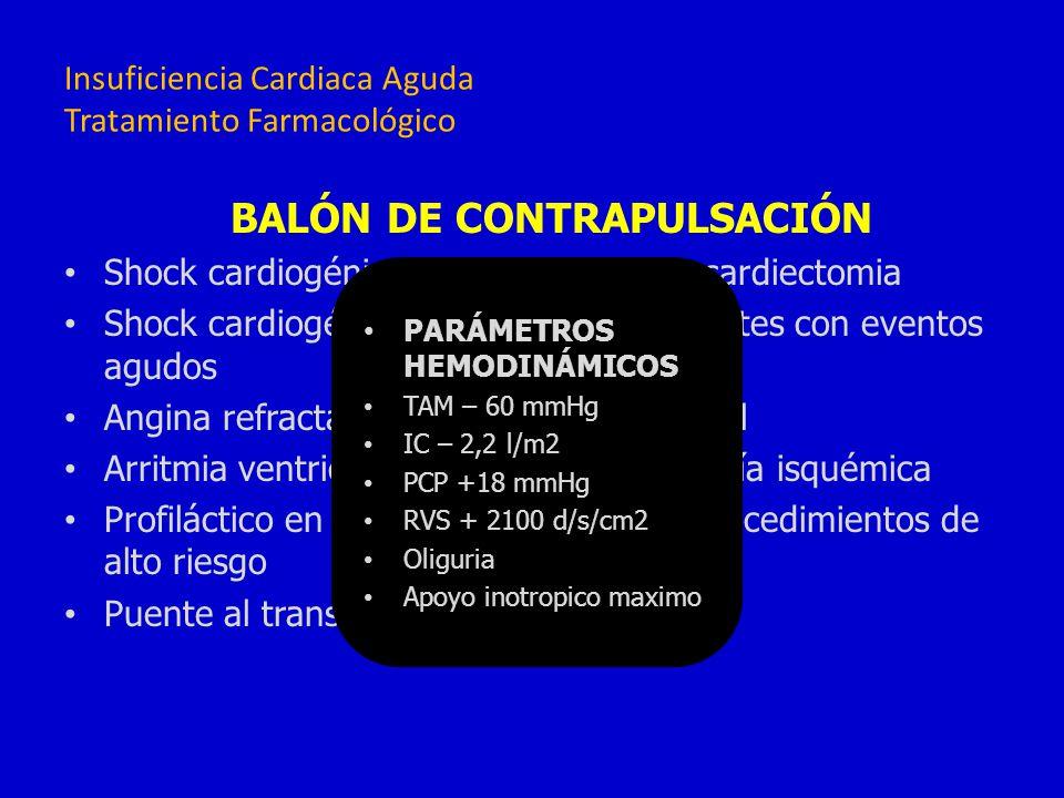 BALÓN DE CONTRAPULSACIÓN Shock cardiogénico en pacientes post-cardiectomia Shock cardiogénico refractario en pacientes con eventos agudos Angina refra