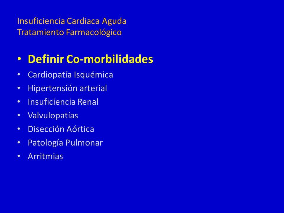 Definir Co-morbilidades Cardiopatía Isquémica Hipertensión arterial Insuficiencia Renal Valvulopatías Disección Aórtica Patología Pulmonar Arritmias I