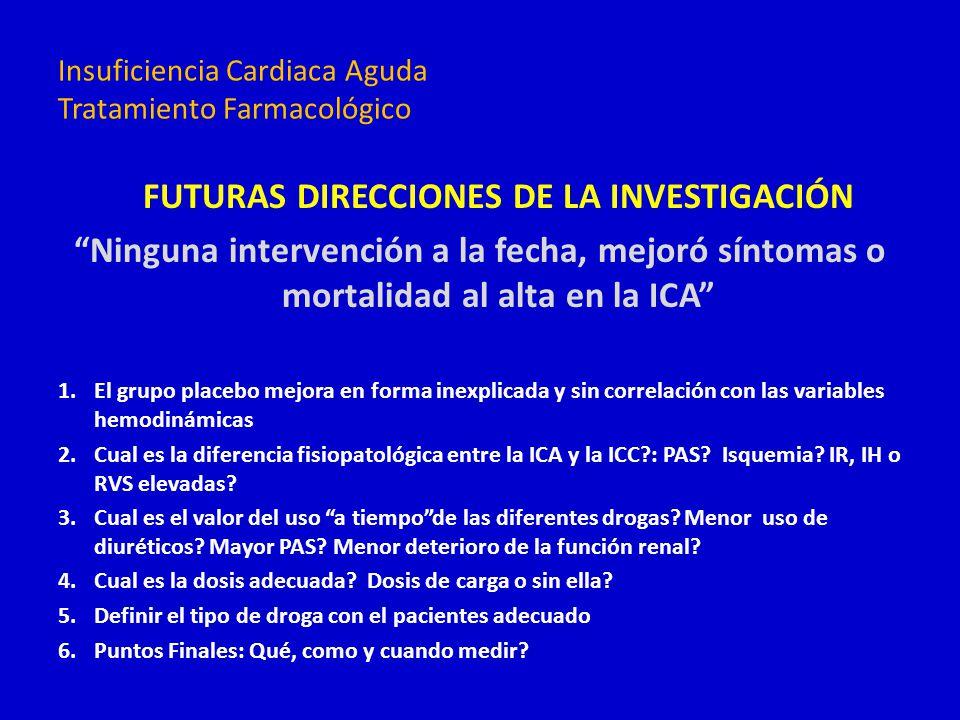 FUTURAS DIRECCIONES DE LA INVESTIGACIÓN Ninguna intervención a la fecha, mejoró síntomas o mortalidad al alta en la ICA 1.El grupo placebo mejora en f