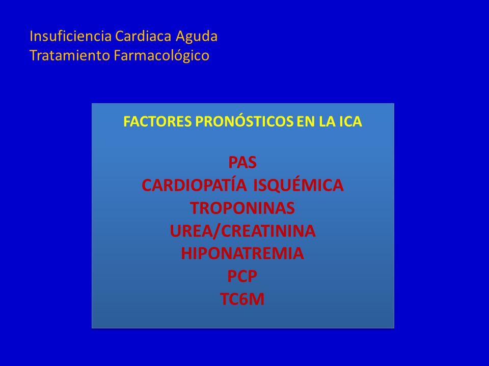 FACTORES PRONÓSTICOS EN LA ICA PAS CARDIOPATÍA ISQUÉMICA TROPONINAS UREA/CREATININA HIPONATREMIA PCP TC6M FACTORES PRONÓSTICOS EN LA ICA PAS CARDIOPAT