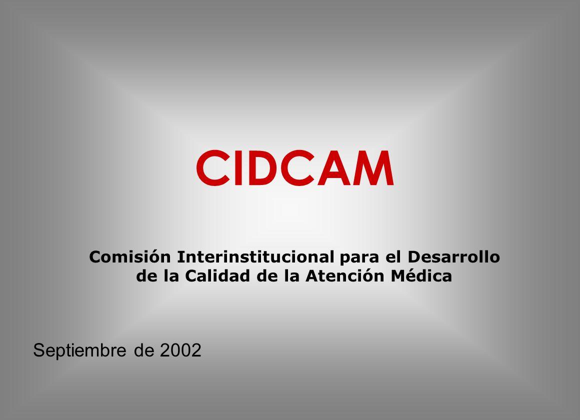 CIDCAM Comisión Interinstitucional para el Desarrollo de la Calidad de la Atención Médica Septiembre de 2002