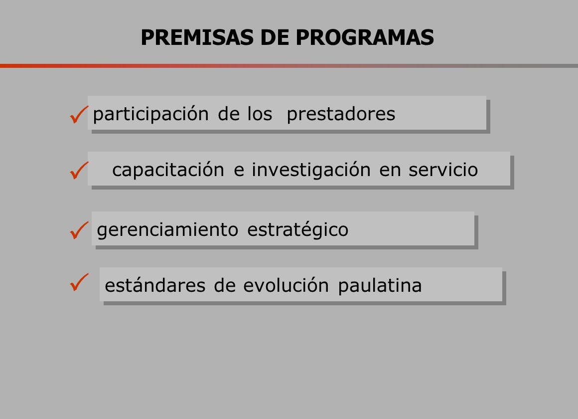PREMISAS DE PROGRAMAS estándares de evolución paulatina participación de los prestadores capacitación e investigación en servicio gerenciamiento estratégico