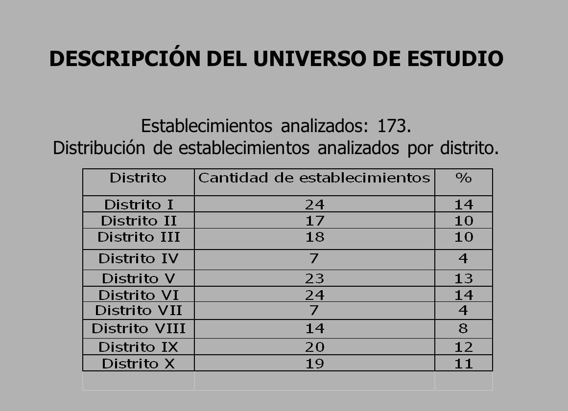 DESCRIPCIÓN DEL UNIVERSO DE ESTUDIO Establecimientos analizados: 173.