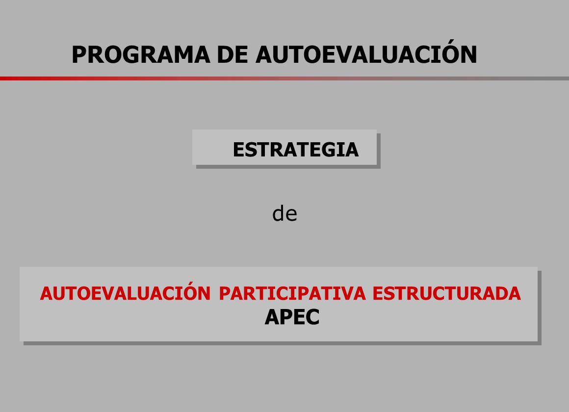 ESTRATEGIA AUTOEVALUACIÓN PARTICIPATIVA ESTRUCTURADA APEC de PROGRAMA DE AUTOEVALUACIÓN