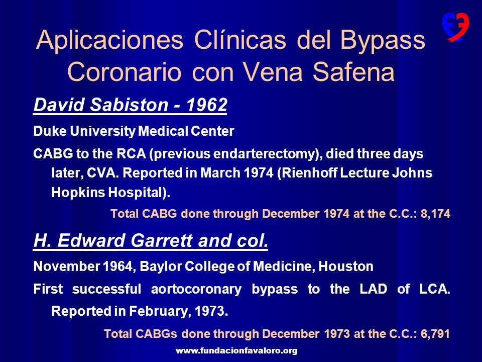www.fundacionfavaloro.org David Sabiston - 1962 Duke University Medical Center CABG to the RCA (previous endarterectomy), died three days later, CVA.
