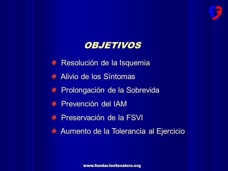 OBJETIVOS Resolución de la Isquemia Alivio de los Síntomas Prolongación de la Sobrevida Prevención del IAM Preservación de la FSVI Aumento de la Toler