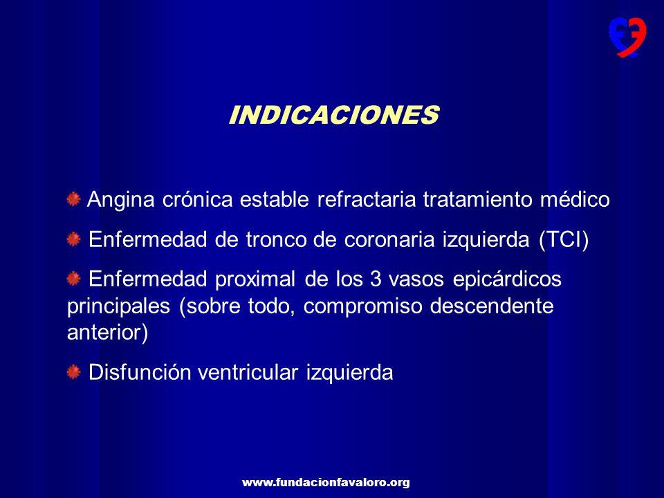 www.fundacionfavaloro.org INDICACIONES Angina crónica estable refractaria tratamiento médico Enfermedad de tronco de coronaria izquierda (TCI) Enferme