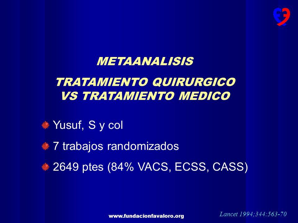 www.fundacionfavaloro.org METAANALISIS TRATAMIENTO QUIRURGICO VS TRATAMIENTO MEDICO Yusuf, S y col 7 trabajos randomizados 2649 ptes (84% VACS, ECSS,