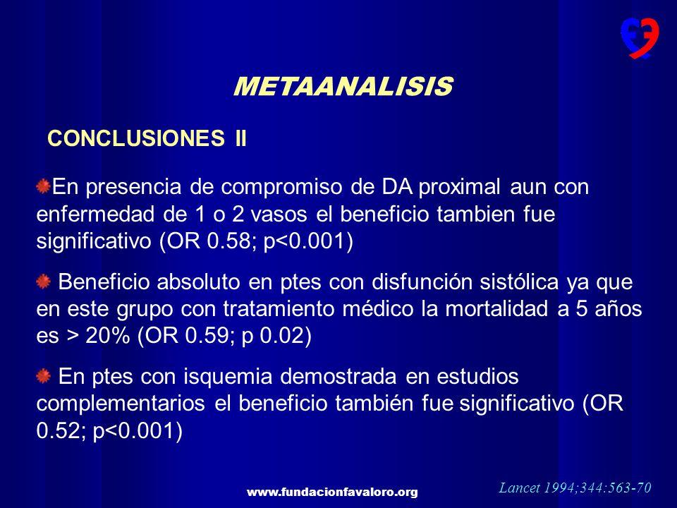 www.fundacionfavaloro.org METAANALISIS CONCLUSIONES II En presencia de compromiso de DA proximal aun con enfermedad de 1 o 2 vasos el beneficio tambie