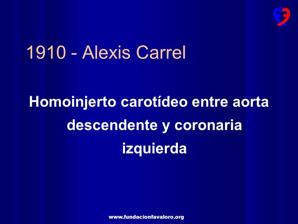1910 - Alexis Carrel Homoinjerto carotídeo entre aorta descendente y coronaria izquierda