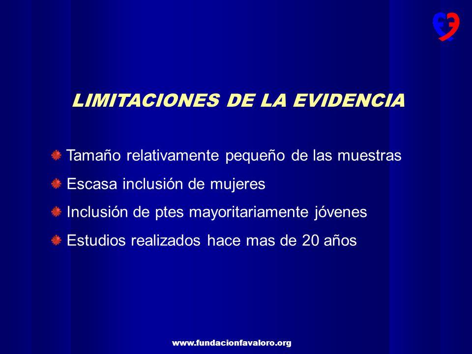 www.fundacionfavaloro.org LIMITACIONES DE LA EVIDENCIA Tamaño relativamente pequeño de las muestras Escasa inclusión de mujeres Inclusión de ptes mayo