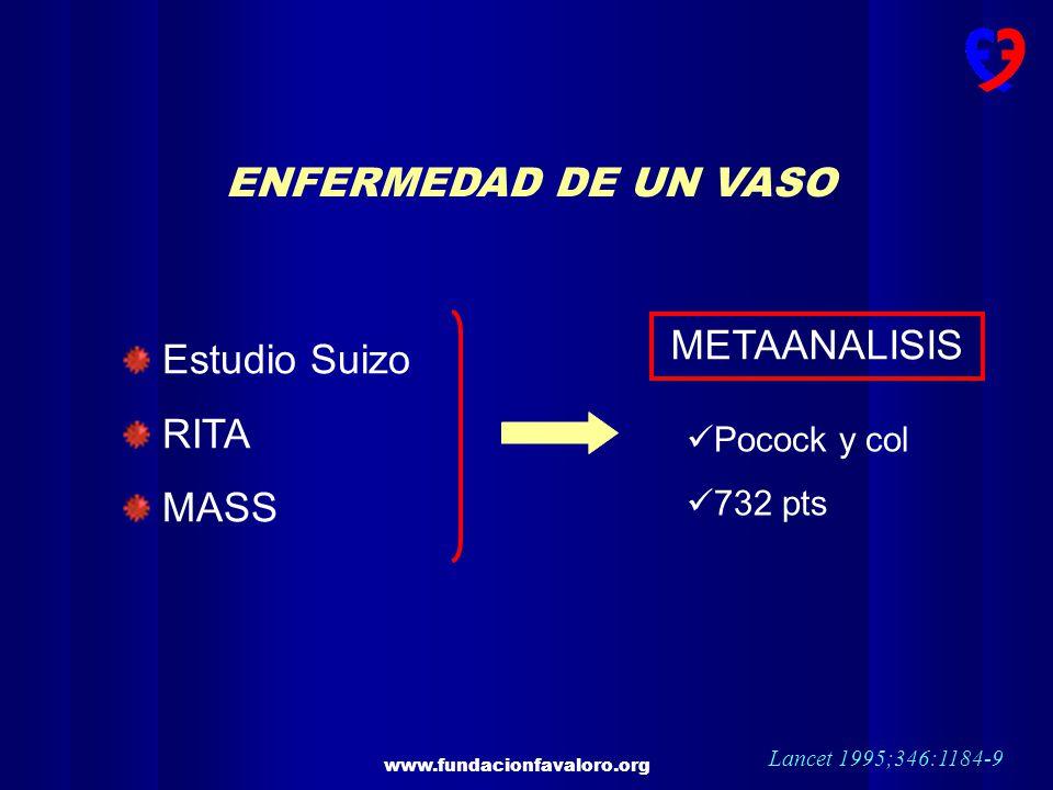www.fundacionfavaloro.org ENFERMEDAD DE UN VASO Estudio Suizo RITA MASS METAANALISIS Pocock y col 732 pts Lancet 1995;346:1184-9
