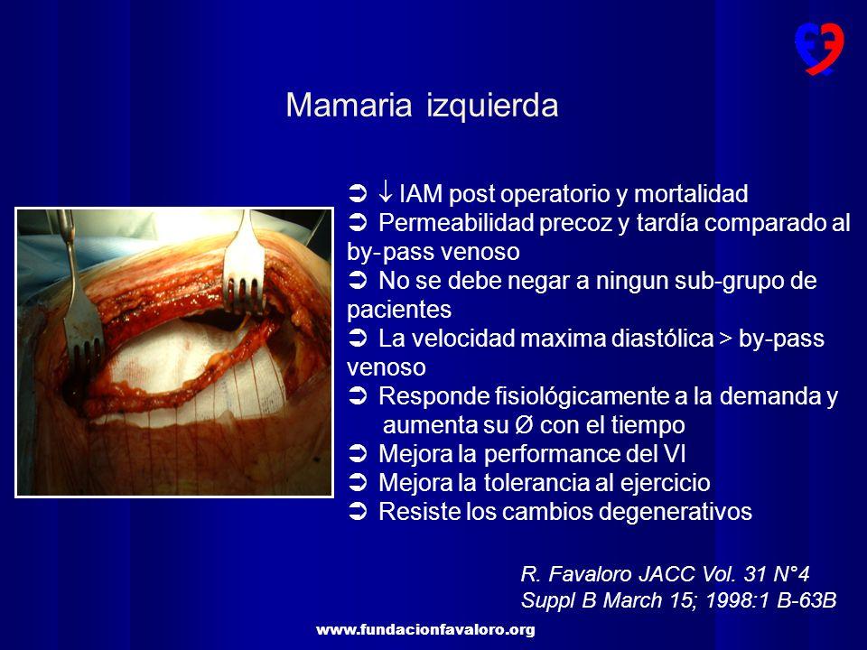 www.fundacionfavaloro.org IAM post operatorio y mortalidad Permeabilidad precoz y tardía comparado al by-pass venoso No se debe negar a ningun sub-gru
