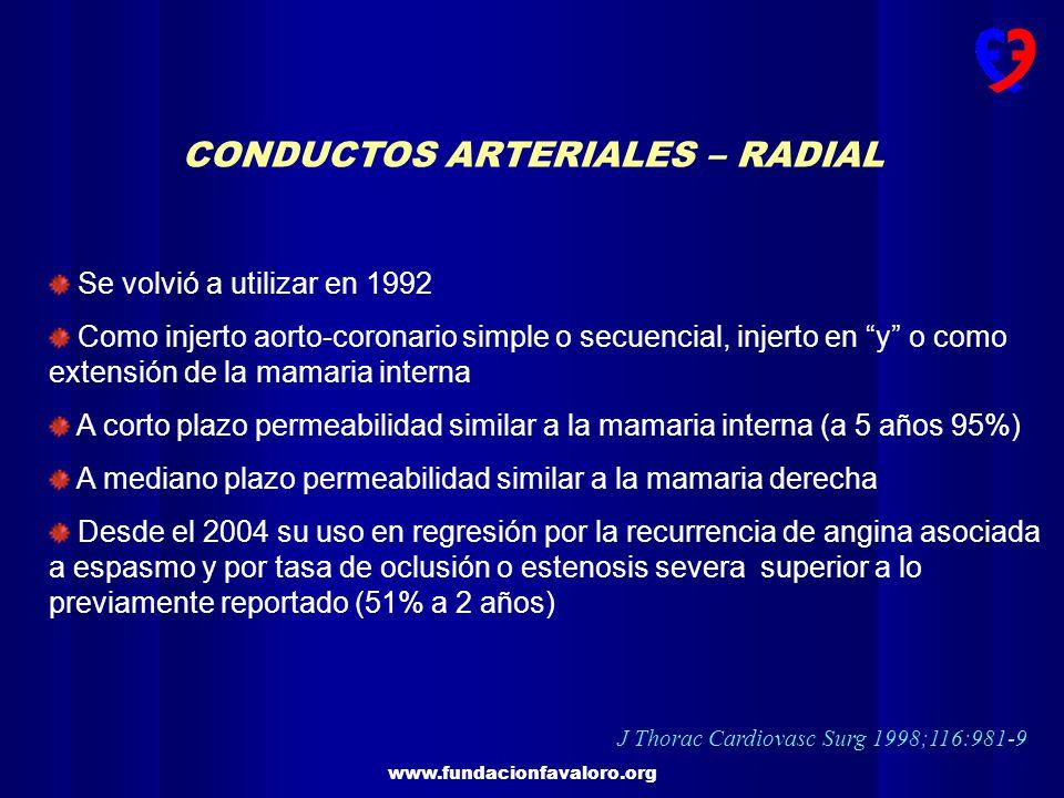 www.fundacionfavaloro.org CONDUCTOS ARTERIALES – RADIAL Se volvió a utilizar en 1992 Como injerto aorto-coronario simple o secuencial, injerto en y o