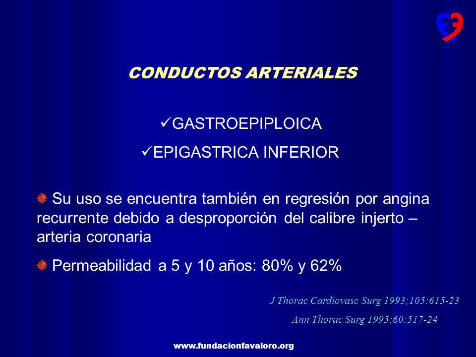 www.fundacionfavaloro.org CONDUCTOS ARTERIALES GASTROEPIPLOICA EPIGASTRICA INFERIOR Su uso se encuentra también en regresión por angina recurrente deb