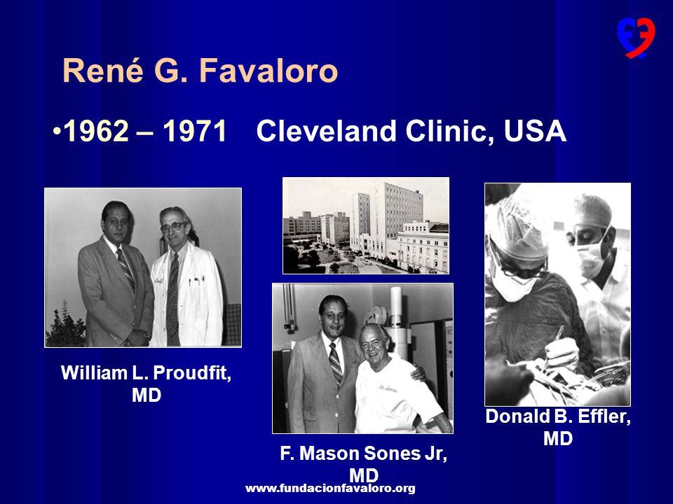 www.fundacionfavaloro.org 1962 – 1971Cleveland Clinic, USA René G. Favaloro William L. Proudfit, MD F. Mason Sones Jr, MD Donald B. Effler, MD