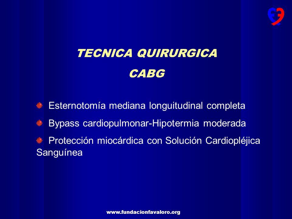 www.fundacionfavaloro.org TECNICA QUIRURGICA CABG Esternotomía mediana longuitudinal completa Bypass cardiopulmonar-Hipotermia moderada Protección miocárdica con Solución Cardiopléjica Sanguínea