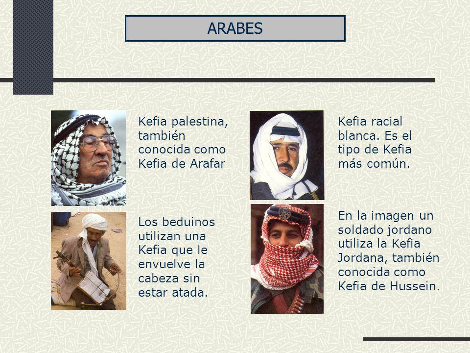 Kefia palestina, también conocida como Kefia de Arafar Los beduinos utilizan una Kefia que le envuelve la cabeza sin estar atada. Kefia racial blanca.