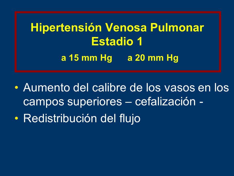 Hipertensión Venosa Pulmonar Estadio 1 a 15 mm Hg a 20 mm Hg Aumento del calibre de los vasos en los campos superiores – cefalización - Redistribución del flujo