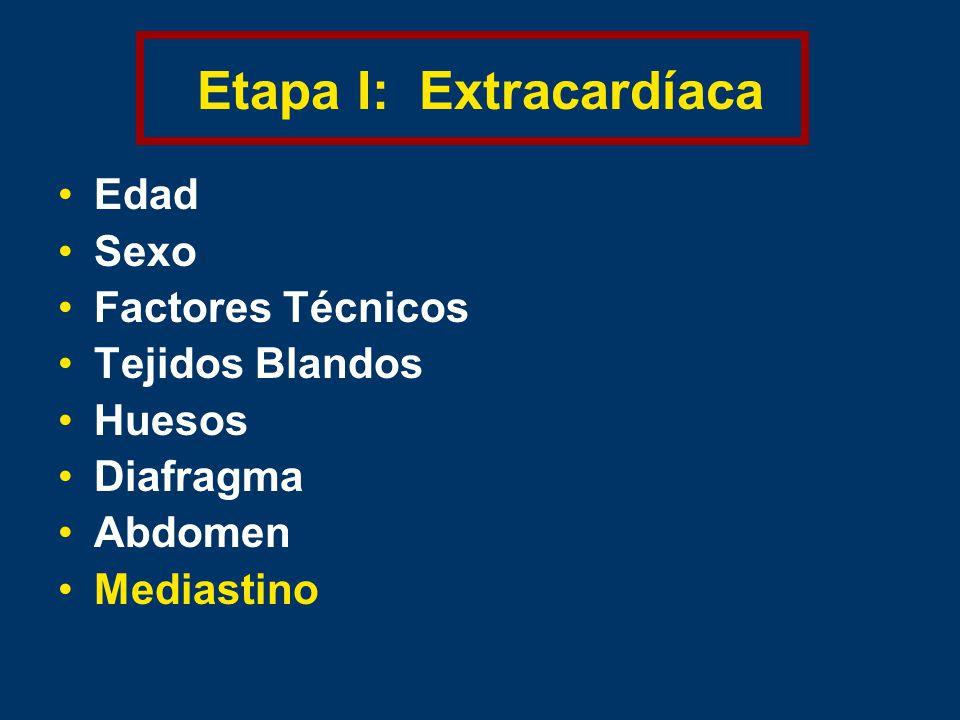 Etapa I: Extracardíaca Edad Sexo Factores Técnicos Tejidos Blandos Huesos Diafragma Abdomen Mediastino