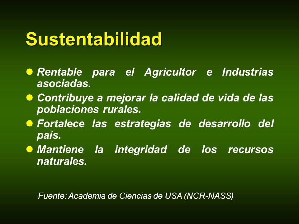 Sustentabilidad Rentable para el Agricultor e Industrias asociadas. Contribuye a mejorar la calidad de vida de las poblaciones rurales. Fortalece las