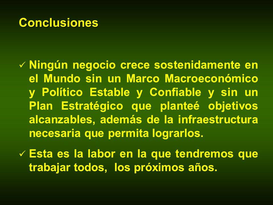 Conclusiones Ningún negocio crece sostenidamente en el Mundo sin un Marco Macroeconómico y Político Estable y Confiable y sin un Plan Estratégico que