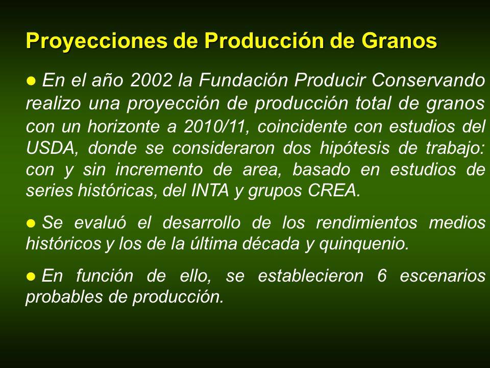 Proyecciones de Producción de Granos En el año 2002 la Fundación Producir Conservando realizo una proyección de producción total de granos c on un hor