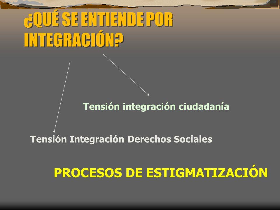 ¿QUÉ SE ENTIENDE POR INTEGRACIÓN? Tensión integración ciudadanía Tensión Integración Derechos Sociales PROCESOS DE ESTIGMATIZACIÓN
