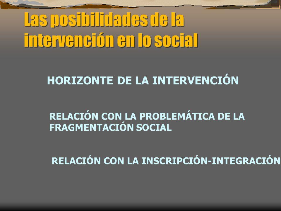 Las posibilidades de la intervención en lo social HORIZONTE DE LA INTERVENCIÓN RELACIÓN CON LA PROBLEMÁTICA DE LA FRAGMENTACIÓN SOCIAL RELACIÓN CON LA