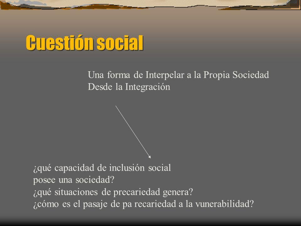 Cuestión social Una forma de Interpelar a la Propia Sociedad Desde la Integración ¿qué capacidad de inclusión social posee una sociedad? ¿qué situacio