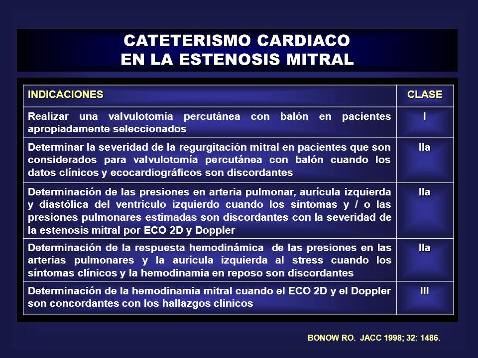 CATETERISMO CARDIACO EN LA ESTENOSIS MITRAL BONOW RO. JACC 1998; 32: 1486.INDICACIONESCLASE Realizar una valvulotomía percutánea con balón en paciente