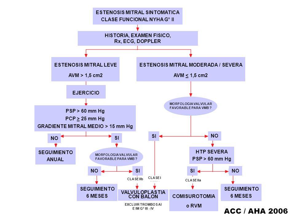 ESTENOSIS MITRAL SINTOMATICA CLASE FUNCIONAL NYHA G° II HISTORIA, EXAMEN FISICO, Rx, ECG, DOPPLER ESTENOSIS MITRAL LEVE AVM > 1,5 cm2 ESTENOSIS MITRAL
