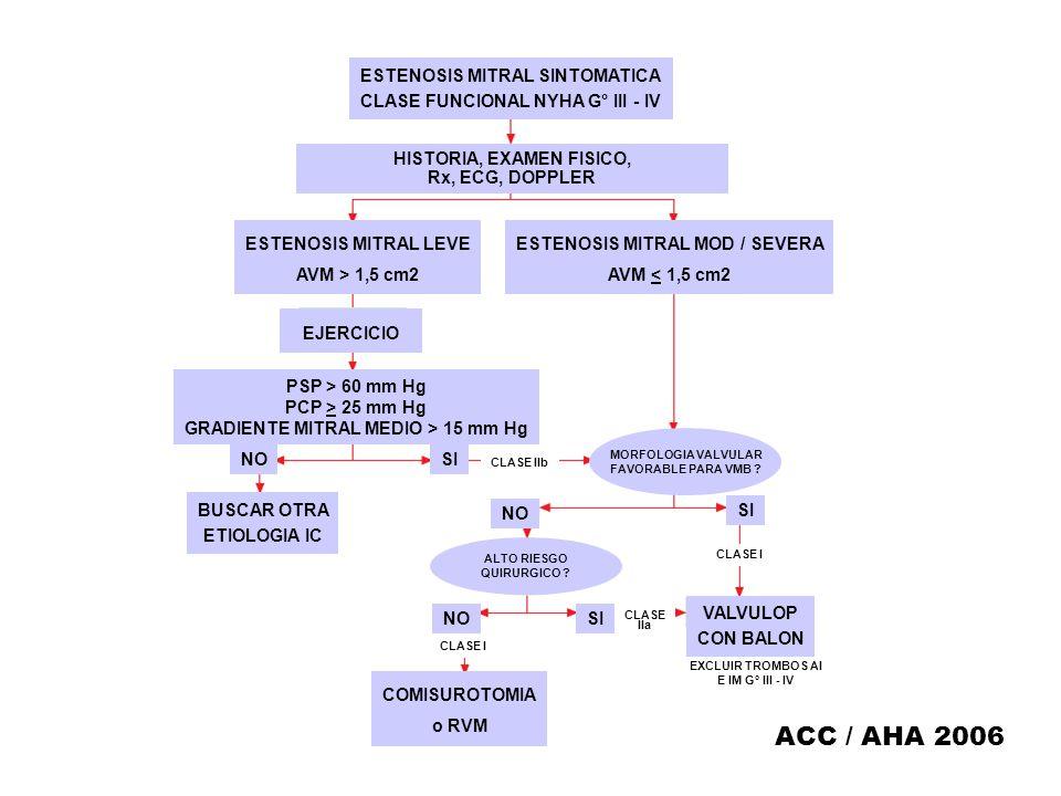 ESTENOSIS MITRAL SINTOMATICA CLASE FUNCIONAL NYHA G° III - IV HISTORIA, EXAMEN FISICO, Rx, ECG, DOPPLER ESTENOSIS MITRAL LEVE AVM > 1,5 cm2 EJERCICIO