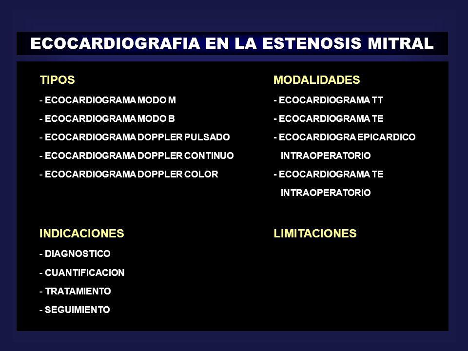 ECOCARDIOGRAFIA EN LA ESTENOSIS MITRAL TIPOSMODALIDADES - ECOCARDIOGRAMA MODO M- ECOCARDIOGRAMA TT - ECOCARDIOGRAMA MODO B- ECOCARDIOGRAMA TE - ECOCAR