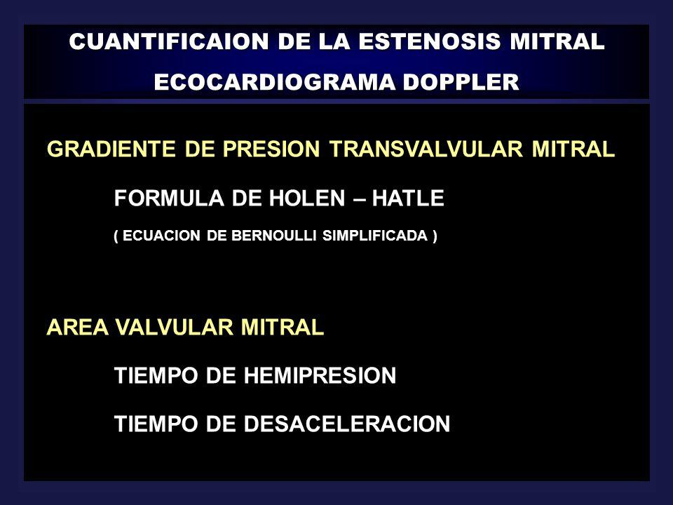 CUANTIFICAION DE LA ESTENOSIS MITRAL ECOCARDIOGRAMA DOPPLER || GRADIENTE DE PRESION TRANSVALVULAR MITRAL FORMULA DE HOLEN – HATLE ( ECUACION DE BERNOU