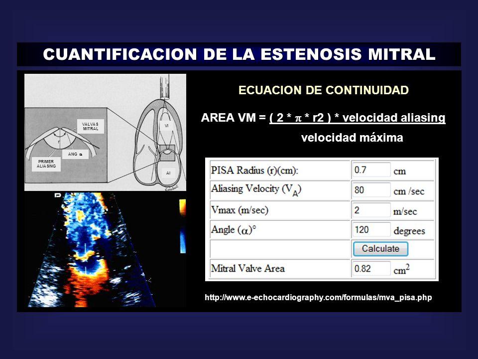 http://www.e-echocardiography.com/formulas/mva_pisa.php ECUACION DE CONTINUIDAD AREA VM = ( 2 * * r2 ) * velocidad aliasing velocidad máxima CUANTIFIC